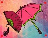 Desenho Leque e guarda-chuva pintado por Nathyye