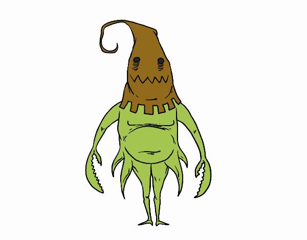 desenho de monstro com capuz pintado e colorido por pablo12233 o dia
