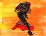 Desenho Penteado com trança pintado por Nathyye