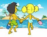 A menina eo menino na praia