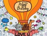 Desenho Cartão de feliz aniversário pintado por Natani