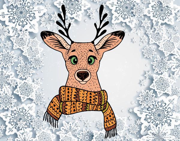 Desenho Cervos com lenço pintado por kellyalmei