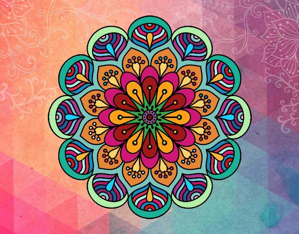 Desenho Mandala flor e folhas  pintado por kellyalmei