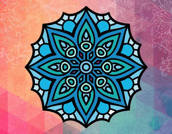 Desenho Mandala simetria simples pintado por kellyalmei