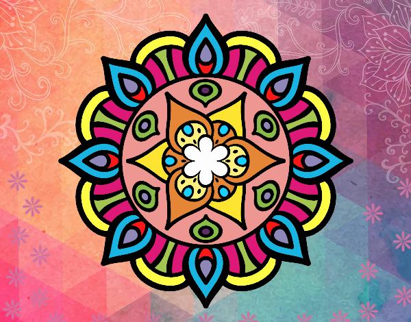 Desenho Mandala vida vegetal pintado por kellyalmei