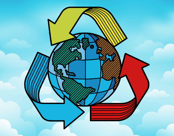 Desenho Mundo reciclagem pintado por kellyalmei