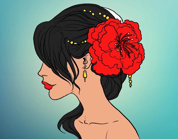 Desenho Penteado de casamento com flor pintado por mah10