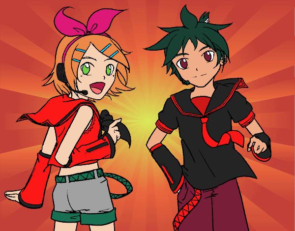 Desenho Rin y Len Kagamine Vocaloid pintado por mah10