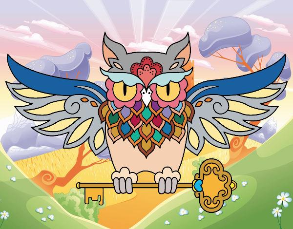 Desenho Tatuagem de coruja com chave pintado por kellyalmei