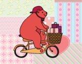 Desenho Urso ciclista pintado por Natani