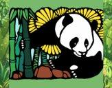 Desenho Urso panda e bambu pintado por Natani