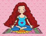 Grávida praticando ioga