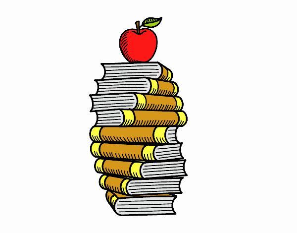 Livros e maçã