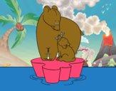 Mama urso com seu filho