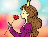 Desenho Princesa e rosa pintado por Anaah