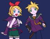 Desenho Rin y Len Kagamine Vocaloid pintado por IanBrunin3