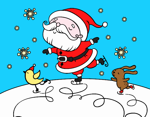 Santa Claus a patinar