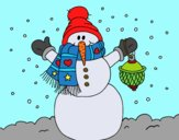 Desenho A neve do Natal do boneco de neve pintado por LuizTacks