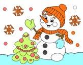 Boneco de neve do cartão de Natal