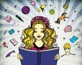 Desenho Dia do Livro pintado por Silju