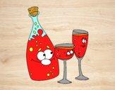 Desenho Garrafas de champanhe e taças pintado por nann