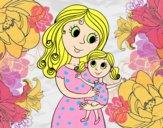 Desenho Mãe com sua filha pintado por BIELLA