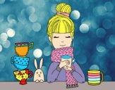 Desenho Menina com lenço e xícara de chá pintado por BIELLA