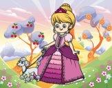 Desenho Princesa com cachorro pintado por BIELLA