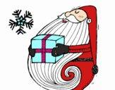 Desenho Santa com o presente pintado por mari1905
