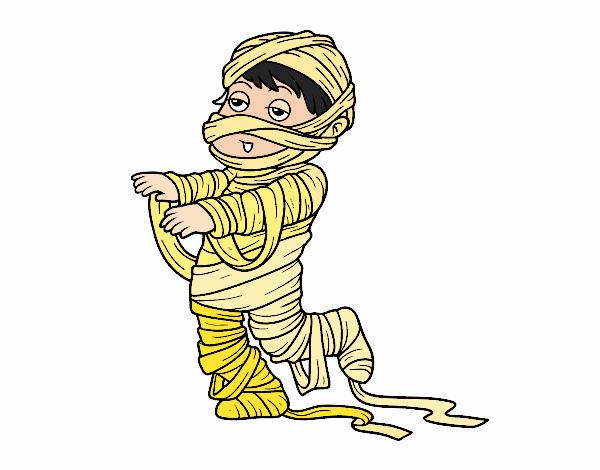Desenho Bambino vestido como uma múmia pintado por mah10