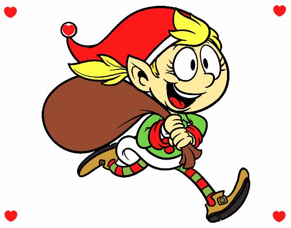 Desenho Elf correndo com um saco pintado por larartes