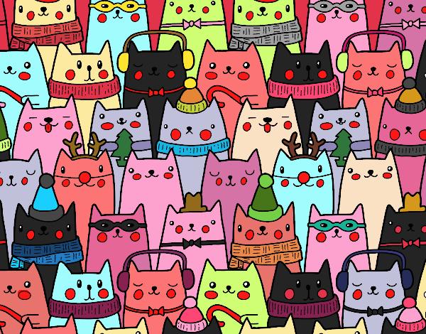 Desenho Gatos do Natal pintado por mah10