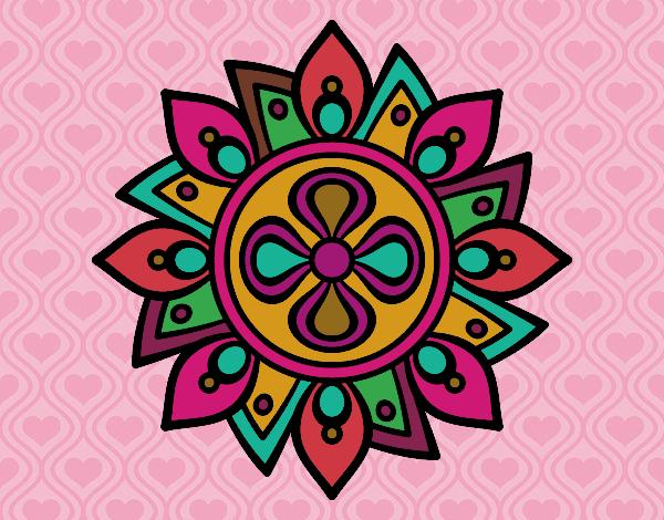 Desenho Mandala flor simple pintado por Ritagomes1