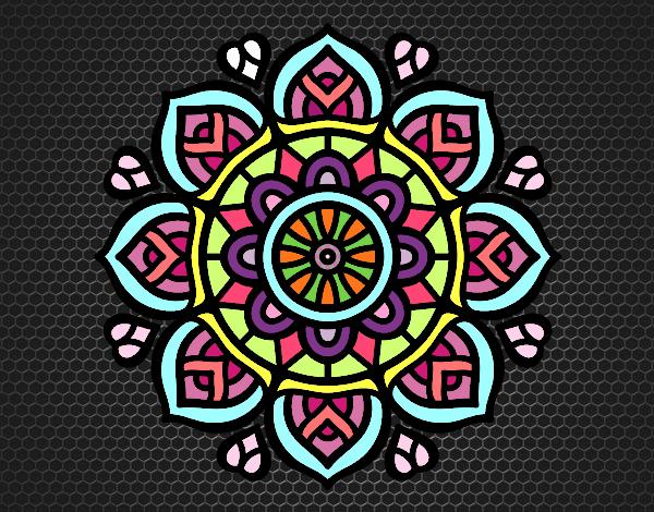 Desenho Mandala para a concentração mental pintado por larartes