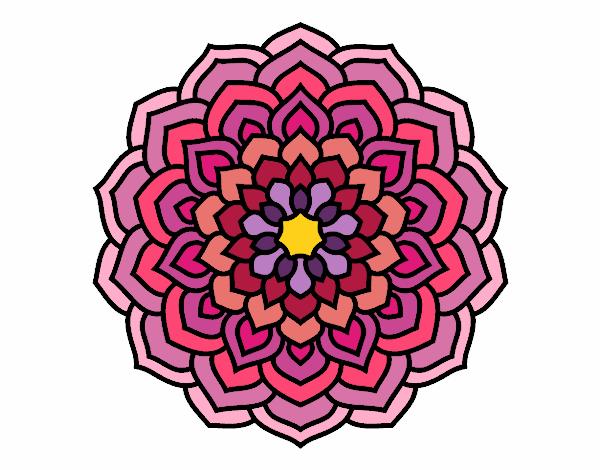 Desenho Mandala pétalas de flores pintado por larartes
