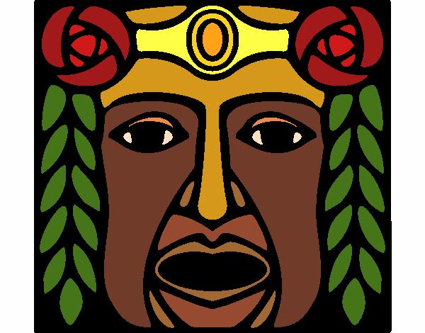Desenho Máscara Maia pintado por larartes