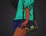 Desenho Menina com saco pintado por Thazina