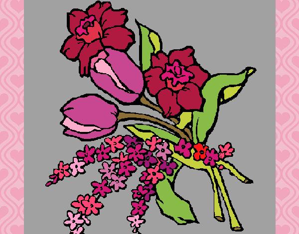 Desenho Ramo de flores pintado por nicknice