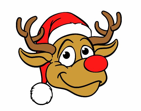 Desenho Rudolph face rena pintado por larartes