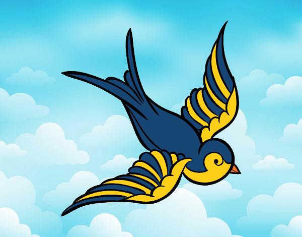 desenho de o passarinho azul com amarelo pintado e colorido por