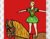 Trapezista em cima do cavalo