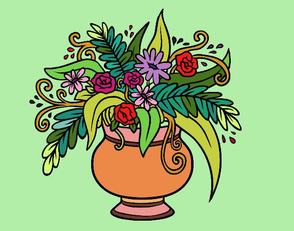 Desenho Um vaso com flores pintado por nicknice
