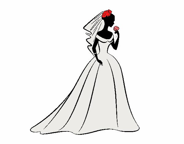 Desenho Vestido de casamento i véu  pintado por larartes