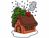 Desenho Casa na neve pintado por BiaCabral