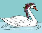 Desenho Cisne com flores pintado por Keithy