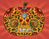 Desenho Abóbora de dia dos mortos pintado por ThaySilvaa