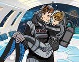 Desenho Astronautas apaixonados pintado por Keithy