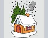 Desenho Casa na neve pintado por yuuni