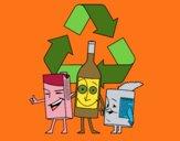 Desenho Contentores de reciclagem pintado por Craudia
