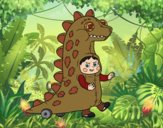 Desenho Criança vestida como um dinossauro pintado por Craudia